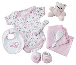 Big Oshi Baby Essentials Gift Basket 9-Piece Layette Set Infant up to 0-6 Months – Pink