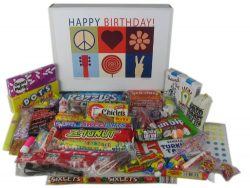 Happy Birthday Wishes Gift Box of Retro Candy for a Man or Woman