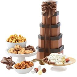 Broadway Basketeers Gift Tower of Sweets Gift Basket Perfect for Sympathy, Birthday, Housewarmin ...