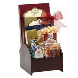 Broadway Basketeers Corporate Wooden Swivel Gift Basket with Assorted sweets, cookies and gourme ...