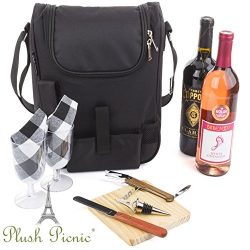 Insulated Travel Wine Tote Bag: Portable 2 Bottle Wine and Cheese Waterproof Black Canvas Carrie ...