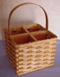 Amish Country Four Bottle Wine Carrier Basket, Makes a Great Gift for Any Wine Lover
