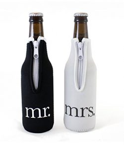 Bridal Shower Gift Mr and Mrs Wedding Beer Bottle Coolies – (Black and White) Set of 2