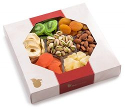 Nut Cravings Large Dried Fruit and Nut Gift Basket – Holiday Gift Tray w/ 7 Different Dried Frui ...
