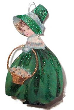 St Patrick's Day Ornament Decoration Lassie with Golden Basket Irish Handmade Gift