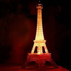 5 Inches LED Light Up Eiffel Tower, Built-in Color Changing Night Light, Battery Included Desk L ...