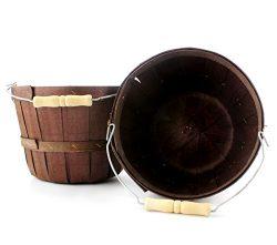 Dark Brown Half Peck Wooden Baskets (2-Pack); Wood Fruit & Vegetable Picking Basket with Wir ...