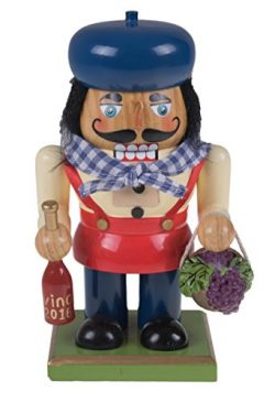 Traditional Wooden Chubby Italian Nutcracker by Clever Creations | Wine Bottle and Basket of Gra ...