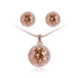FAIRY COUPLE Christmas Gift Women`s Basket Set CZ Necklace and Earring Jewelry Sets S93