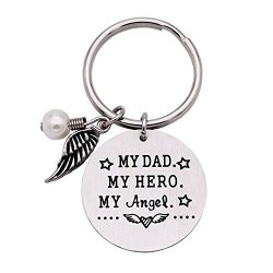 Melix Home My Hero My Angel Memorial Keychain, Loss of Father Sympathy Gift, Remembrance Jewelry
