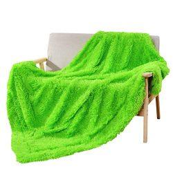 Decosy Faux Fur Couch Blanket Bright Green 50″x 60″ – Fleece Flannel Shaggy TV ...