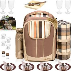 Picnic Backpack Basket Wine Cooler | Stylish All-in-One Portable Picnic Bag for 4 with Complete  ...