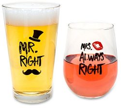 Funny Wedding Gifts – Mr. Right and Mrs. Always Right Novelty Wine Glass & Beer Glass  ...