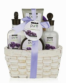 Large Lavender Spa Gift Basket. Spa Gift Basket with Lavender Bubble Bath & Body Lotion etc. ...
