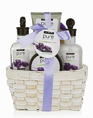 Large Lavender Spa Gift Basket With Bubble Bath Body Lotion