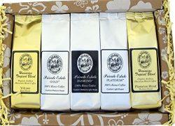 Deluxe Pure Kona and Hawaiian Coffee Sampler Gift, Assortment of Five Coffee Roasts of Kona and  ...