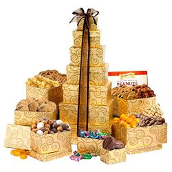 Broadway Basketeers Assorted Chocolates, Sweets & Cookies Thinking of You Gift Tower
