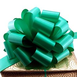 Large Emerald Green Pull Bows – 9″ Wide, Set of 6, St. Patrick's Day Decorations