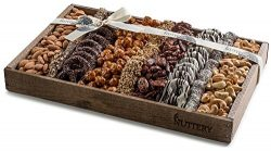 The Nuttery Fresh Chocolate and Nuts Gift Basket- Reusable Medium Wooden Box- Kosher Gourmet Hol ...