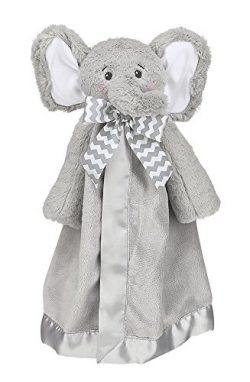 Bearington Baby Lil' Spout Snuggler, Plush Elephant Security Blanket, Lovey 15″