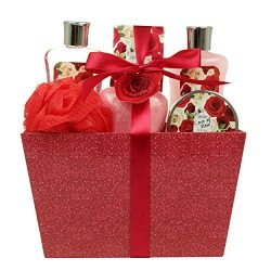 Spa Gift Basket and Bath Set with Love of Rose Fragrance by Lovestee – Bath and Body Gift  ...