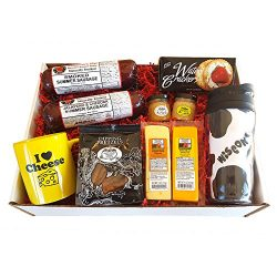Deluxe WI Cheesehead Gift Basket – features Smoked Summer Sausages, 100% Wisconsin Cheeses ...
