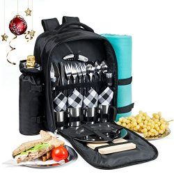 Picnic Backpack for 4 | Premium All-in-One Set w/ Stainless Steel Plates and Cups, Fleece Blanke ...