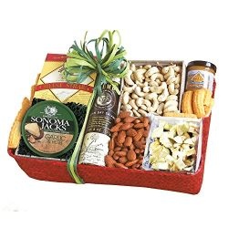 California Delicious Savory Cheese and Nuts Gift Basket, 4 Pound
