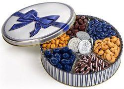 Hanukkah Gift Basket | Gelt Keepsake Gift Tin | Chocolate and Nuts | Kosher and Dairy-free