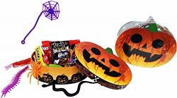 Tricks and Treats ~ Fun Pumpkin Shaped Halloween Gift Boxes ~ Filled with Fun Favors and Assorte ...