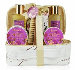 Spa Bath Gift Set Basket – Luscious Carnation Scent, Comes in Beautiful Leather Like Cosme ...