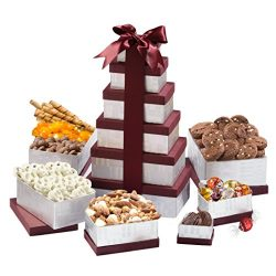 Broadway Basketeers Birthday Celebration Gift Tower with a Gourmet Assortment of Sweets, Nuts &a ...