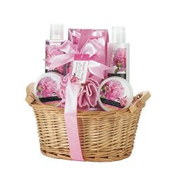 Bath Basket, New Home Gifts Baskets For Women Thanksgiving Peony Vanilla Spa Set