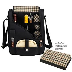 Picnic at Ascot Original Wine and Cheese Tote for 2 with Waterproof Matching Picnic Blanket R ...
