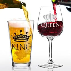 King Beer Queen Wine Glass Gift Set- Cool Present Idea for Bridal Shower, Wedding, Engagement, A ...