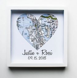 Heart Map Framed Art Map Heart Wedding Gifts for Couples FRAMED Unique Wedding Gift Any Location ...