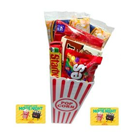 Fun Mike and Ike Flavors Movie Night Popcorn, Candy And Redbox Movie Gift Basket (Root Beer Float)