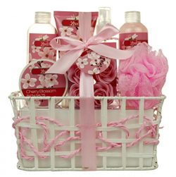 Spa Gift Basket and Bath Set – Bath and Body Gift Set, Gift Box, Contains Loofah Bath Sponge, Ba ...