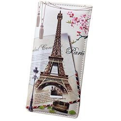 Sunward Fashion Women Lady Girls Long Wallet Smooth Pu Leather Paris Eiffel Tower Style Card Hol ...