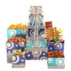 Broadway Basketeers Gourmet Celebration Gift Tower with Gourmet Popcorn, Cookies & Assorted  ...