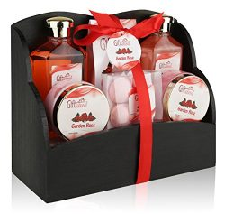 Spa Gift Basket with Heavenly Garden Rose fragrance – Gift set Includes Shower Gel, Bubble ...