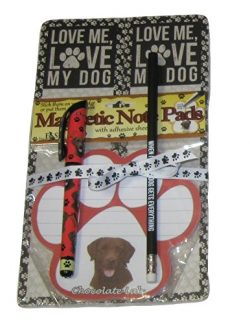 Chocolate Lab Love Me Love My Dog Notepads Pen Pencil Set (5 Items)