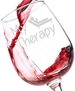 My Therapy Funny Wine Glass 13 oz – Best Birthday Gifts For Women – Unique Gift For  ...