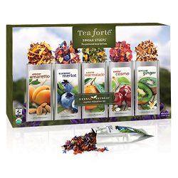 Tea Forté SINGLE STEEPS Herbal Retreat Loose Leaf Tea Sampler, Assorted Variety Tea Box, 15 Sing ...