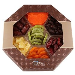 Assortment Dried Fruits Gift Basket (7 Section) – Array of Delicious Dried Medjool Dates,  ...