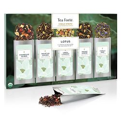 Tea Forté SINGLE STEEPS Lotus Loose Leaf Tea Sampler, Assorted Variety Tea Box, 15 Single Serve  ...
