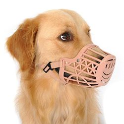 Freerun Pet Dogs Muzzle Adjustable Quick Fit Plastic Muzzle Basket Cage Dog Muzzle – Color ...