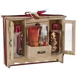Freida & Joe French Vanilla Spa Bath Gift Set In Natural Wood Curio