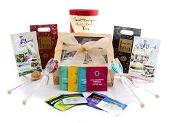 Gourmet Tea Lovers Gift Gold Box With Bow By Gifts Unlimited, Featuring Melville Honey Spoons Gr ...