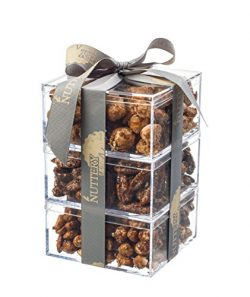 The Nuttery Holiday Gift Tower of Freshly Glazed Nuts-Macadamia-Pecans-Peanuts